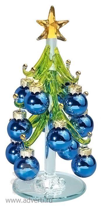 Стеклянный сувенир «Елочка», синяя