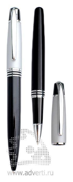 Шариковая ручка и ролллер из набора «Кюри», серебристые