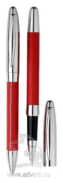 Шариковая ручка и роллер из набора «Рейн», красные