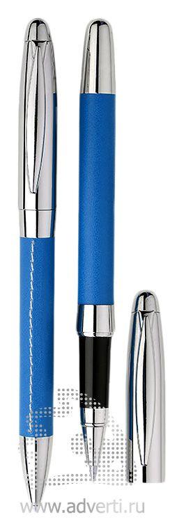 Шариковая ручка и роллер из набора «Рейн», синие