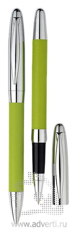 Шариковая ручка и роллер из набора «Рейн», зеленые