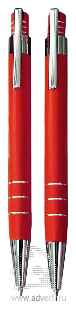 Шариковая ручка и механический карандаш из набора «Эльба», красные