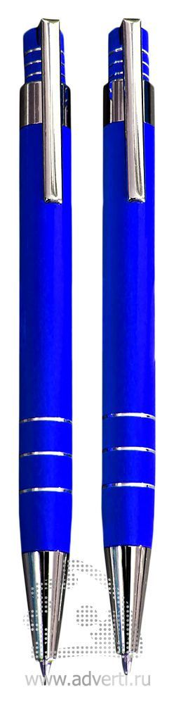 Шариковая ручка и механический карандаш из набора «Эльба», синие