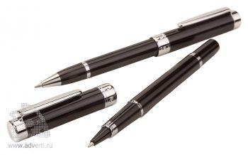Роллер и шариковая ручка из набора «Silver night», черные