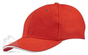 Бейсболка «Unit Generic», красная с белым