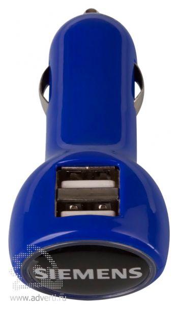 Автомобильное зарядное устройство с USB-разъемами «Logocharger», синее