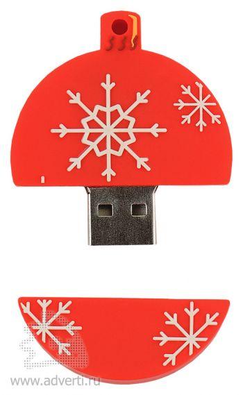 Набор с флеш-картой USB 2.0 в виде елочной игрушки, красная, открытая