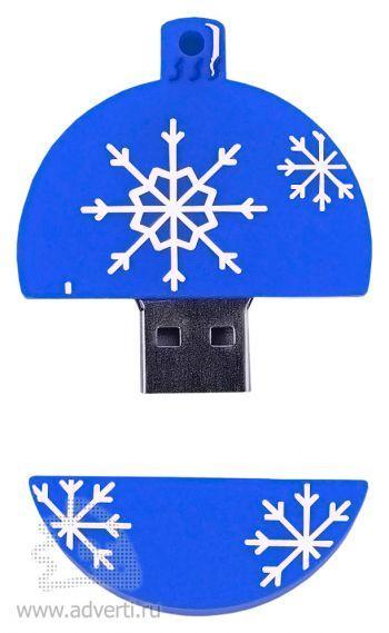 Набор с флеш-картой USB 2.0 в виде елочной игрушки, синяя, открытая