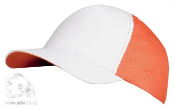 Бейсболка «Unit Pro», белая с оранжевым