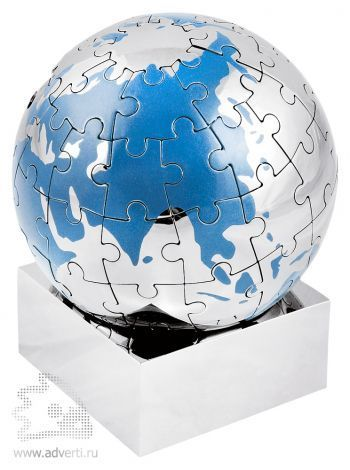 Головоломка-пазл «Земной шар» на магните, голубой