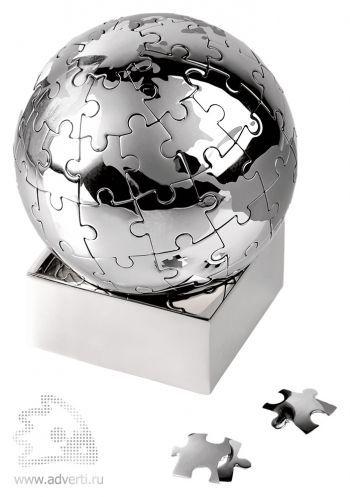 Головоломка-пазл «Земной шар» на магните, серебристый