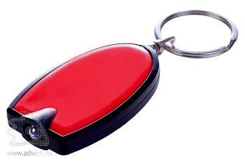 Брелок «Vivid» с LED фонариком, красный, оборот