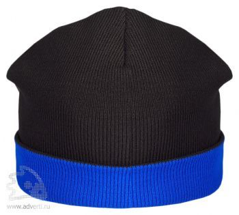 Шапка двусторонняя «Trendy», черная с синим