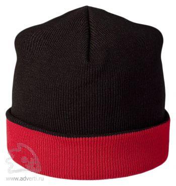 Шапка двусторонняя «Trendy», черная с красным