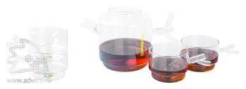 Чайный набор «Glass Spring», чайник и 4 чашки