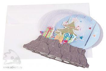 3D открытка «Елочка», сложенный вид