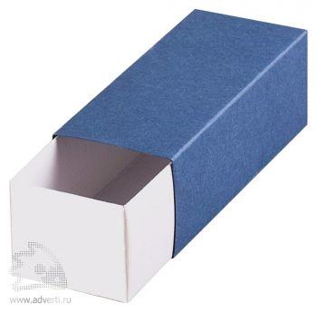 Подарочная коробочка под флешку, синяя, открытая