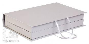Коробка «Блеск» под набор: ежедневник А5 и планинг, серебристая