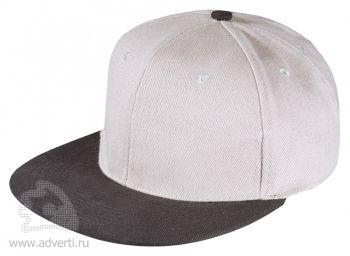 Бейсболка «Unit Heat» с прямым козырьком, двухцветная, серая с черным