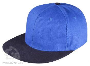 Бейсболка «Unit Heat» с прямым козырьком, двухцветная, синяя с черным