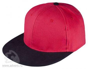 Бейсболка «Unit Heat» с прямым козырьком, двухцветная, красная с черным