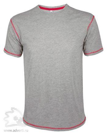 Футболка «MUSTANG 150», мужская с контрастной отделкой, меланж с красной окантовкой