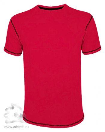 Футболка «MUSTANG 150», мужская с контрастной отделкой, красная с черной окантовкой