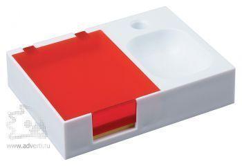 Подставка под ручку и скрепки «Потакет», белая с красным