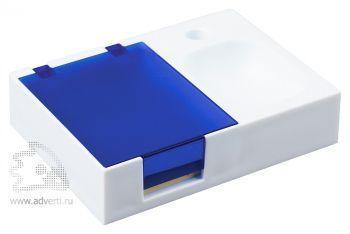 Подставка под ручку и скрепки «Потакет», белая с синим