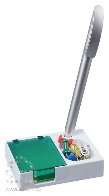 Подставка под ручку и скрепки «Потакет», зеленая, в действии