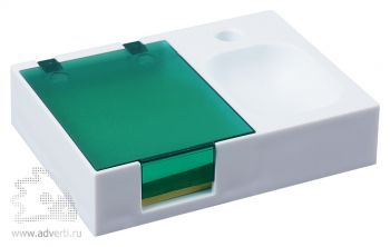 Подставка под ручку и скрепки «Потакет», белая с зеленым
