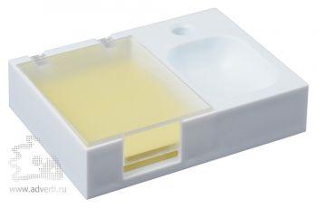 Подставка под ручку и скрепки «Потакет», белая с прозрачным