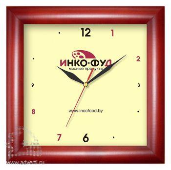 Часы квадратные 290x290 мм, темное дерево