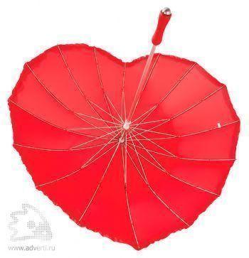 Зонт-трость «Сердце», полуавтоматический, конструкция