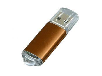 USB-флешка с прозрачным колпачком, коричневая