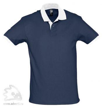 Рубашка поло «Prince 190», мужская, темно-синяя с белым