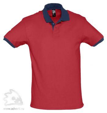 Рубашка поло «Prince 190», мужская, красная с темно-синим