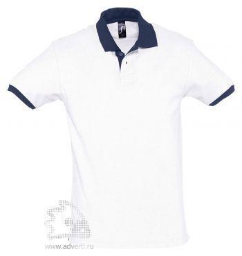 Рубашка поло «Prince 190», мужская, белая с темно-синим
