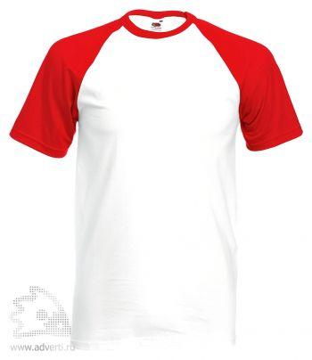 Футболка «Short Sleeve Baseball T», мужская, белая с красным
