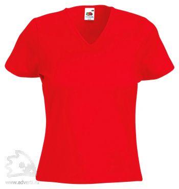 Футболка «Lady-Fit V-Neck T», женская, красная