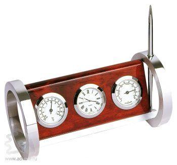 Настольный прибор «Юпитер»: часы, термометр, гигрометр, ручка