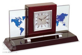 Настольный прибор «Карибы» с часами, ручкой и картой мира