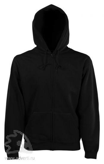 Толстовка Zip Through Hooded Sweat, мужская, Fruit of the Loom, США, черная