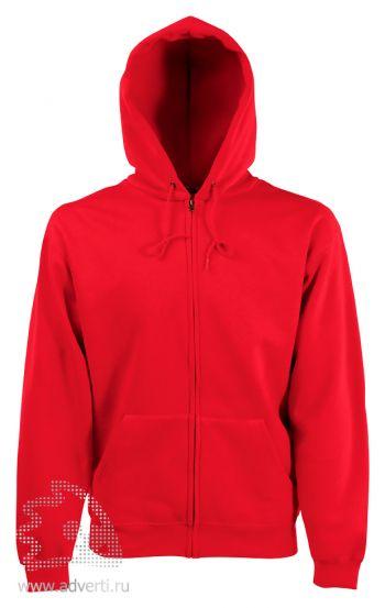 Толстовка Zip Through Hooded Sweat, мужская, Fruit of the Loom, США, красная