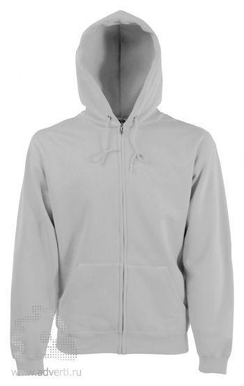 Толстовка Zip Through Hooded Sweat, мужская, Fruit of the Loom, США, светло-серая