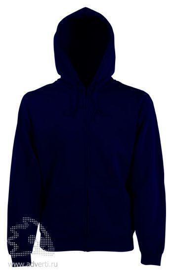 Толстовка Zip Through Hooded Sweat, мужская, Fruit of the Loom, США, темно-синяя