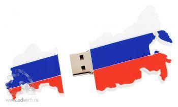 USB-флешка в форме карты России, открытая