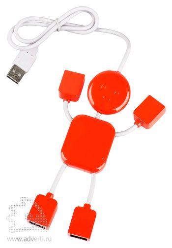 USB-разветвитель на 4 порта в виде человечка, красный