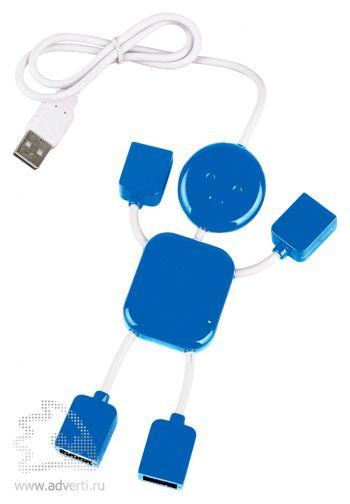 USB-разветвитель на 4 порта в виде человечка, синий