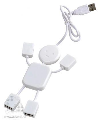 USB-разветвитель на 4 порта в виде человечка, белый